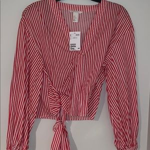 BRAND NEW red and white striped blouse